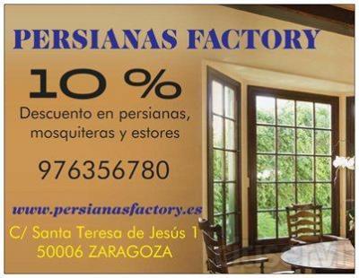 Presentando este cupón, Persianas Factory realizará un 10% de descuento en persianas, estores y mosquiteras. Aproveche la oportunidad, somos profesionales.