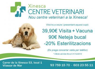 Centre Veterinari Xinesca te ofrece, presentando este cupón, un descuento en tu vacunas + visita, una limpieza bucal por 90 euros, o un 20% de descuento en esterilizaciones (perro, gato, conejo,…).