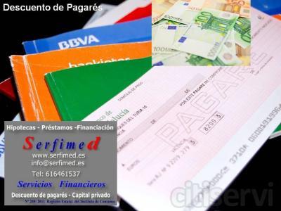 Servicios Financieros del Mediterráneo www.serfimed.es Tel 616461537 info@serfimed.es Eduardo Bosca 26-2º-6  Valencia Descontamos sus pagarés, con nosotros no tendrá que avalar ni aperturar cuentas, tráiganos los pagarés de sus clientes, anali