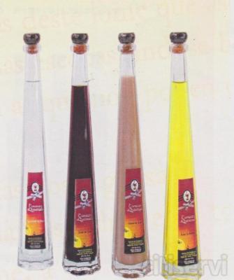 Botella de orujo con envoltorio y etiqueta incluidos, ideal para dar de regalo de boda, bautizo, comunion, etc. Se puede elegir entre varios modelos y variedades.