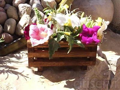 Vallado en madera, tratada con pintura al agua,  variedad de colores homologados por el Ayuntameinto, y jardineras con flores primaverales