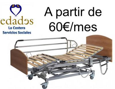 ¿Necesitas una cama geriátrica por un tiempo limitado?. Ahora ya no es preciso que la compres, en Edades la Costera te la alquilamos por el tiempo que la necesites y con opción a compra desde el 4º mes.