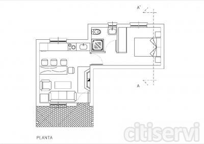 Construcción de vivienda unifamiliar tradicional compuesta de salón-cocina, 1 dormitorio, 1 baño...