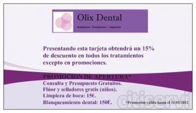 50 % descuento en blanqueamiento dental y limpieza de boca, 15% de descuento en resto de tratamientos.Fluor y selladores gratuitos (niños). Primera consulta y plan de tratamiento gratuitos.