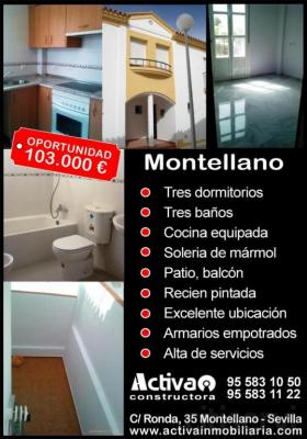 Montellano. Casa adosada. Seminueva.  GANGA 103.000€