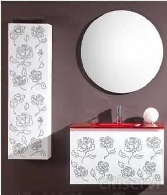Modelo VOLARE compuesto de mueble de 80 con un cajón extraíble, lavabo de cristal integral rojo de 80 y espejo circular de diámetro 75.   Incluye columna decorada de una puerta con pulsador y suspendida. Medidas 150x30x20  Montaje e Iva incluido.