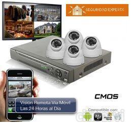 Equipo de Video Vigilancia: 4 Cámaras Domo de 600 L. 1 Grabador de 500 Gb y 4 canales de Video. 4 Rollos de 20 Metros para las cámaras 1 Cartel LOPD 1 Fuente de Alimentación 4 salidas cámaras domo. Instalación y puesta en marcha. Conexión a i