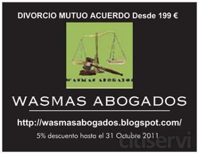 Tramitamos su divorcio a través de Internet desde 199 € por cónyuge todo incluído (IVA, Abogado y Procurador).  Además le fraccionamos el pago en dos plazos.  Consulte sin compromiso: http://wasmasabogados.blogspot.com/