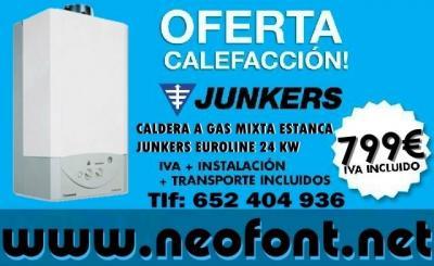 CALDERA JUNKERS EUROLINE ZW 24-1 AE  Caldera mural a gas estanca, para calefacción y A.C.S.  • Producción instantánea de A.C.S. Caudal: 13,7 litros/min. • Potencia: 24 kw. (20.640 Kcal/h). • Seguridad y encendido electrónico mediante ioniz
