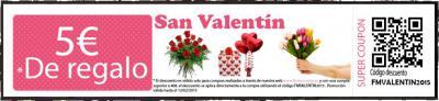 Oferta válida solo para compras online a través de la pagina web www.floresmarien.es utilizando el código promocinal:  FMVALENTIN2015