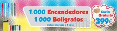 1000 Encendedores 1000 Boligrafos  Marcaje a una tinta incluido Envio Incuido  POr solo 399 €