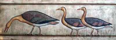 Ocas de Medium. med: 160x54x3 cm. Adaptación en bajorrelieve de una pintura al fresco de la Mastaba de Nefermaat.