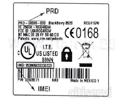 el precio de las blackberry 2 euros, es solo por este sabado.   De la imagen que te envio, solo pon el recuadro donde sale el prd y el imei, con eso es suficiente.   Este sábado 10 de marzo del 2012 GRAN OFERTA De 10:00 AM a 3:00 PM   En tienda