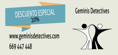 Géminis Detectives ofrece a sus nuevos clientes un descuento del 20%
