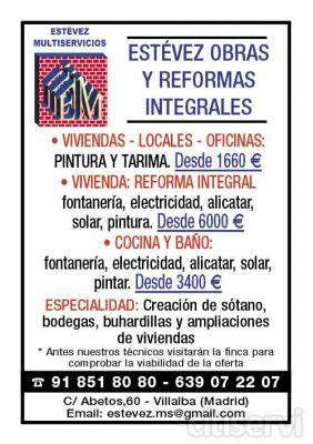 *REFORMAS COMPLETAS VIVIENDAS LOCALES Y OFICINAS PISO: REFORMA INTEGRAL; fontanería, electricidad, alicatar, solar, pintura. 6000€ COCINA Y BAÑO: fontanería, electricidad, alicatar, solar, pintar. 3400€ VIVIENDAS LOCALES OFICINAS: PINTURA Y TARI