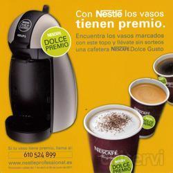 Este mes de mayo empezamos un sorteo con  premio seguro para cada empresa. Se trata de la máquina de café en cápsulas Dolce Gusto de Nestlé. Lo único que tendreis que hacer es mirar el vaso que os dispense la máquina de café y si encontrais el to