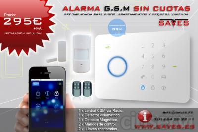 Alarma GSM sin cuotas, Instalación incluida en un radio de 50Km. Incluye:  1 Central Via Radio 1 det. Volumetrico 1 det. Magnetico 2 Mandos control 2 LLaves encriptadas.  295€ + IVA