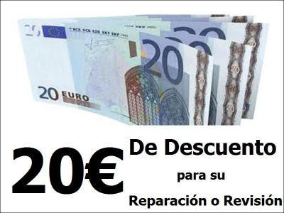 Te damos 20€ de descuento en tu reparación o revisión.