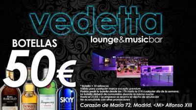 Disfruta en Vedetta de una Botella de tu alcohol favorito + 10 refrescos por sólo 50€. Todo ello en tu espacio reservado para ti y tus amigos