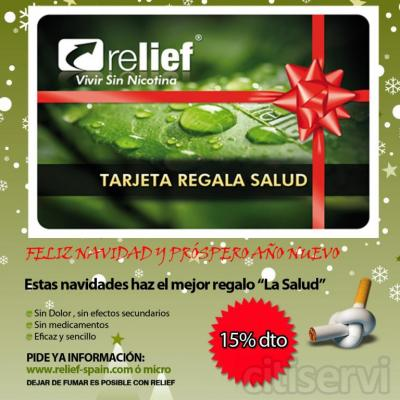 Estas Navidades regala salud en relief Getafe. Tu tratamiento para dejar de fumar 230€, incluye: otra sesión en el período de un año, tratamiento