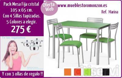 Pack mesa de cocina fija de cristal, con 4 sillas. 5 Colores a elegir. Con 3 ollas de ragalo. Todo por solo 275 €.