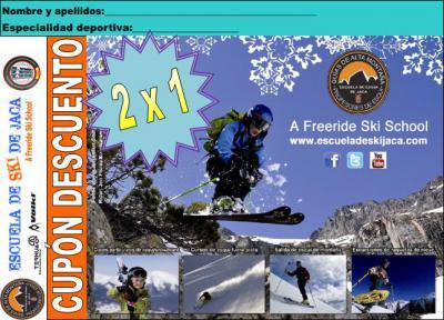 Pagas una plaza y damos clase a los dos.  Imprime el cupón y preséntalo en la Escuela de Esquí de Jaca.  Con él tendrás 2 horas de clase de esquí, snowboard o esquí fuera de pistas válido para 2 personas.