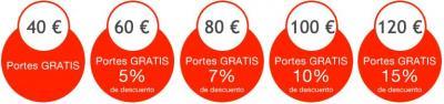 Solo por superar 40 € los portes seran gratis y si  superaris 60 € un 5 % y si  superaris 80 € un 7 % y si  superaris 100 € un 10 % y si  superaris 120 € un 15 %. ¿ Que os parecen los descuentos ?