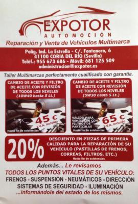 CAMBIO DE ACEITE Y FILTRO DE ACEITE CON REVISION DE TODOS LOS NIVELES (10W40 HASTA 5L) 45 € IVA INCLUIDO. CAMBIO DE ACEITE Y FILTRO DE ACEITE CON REVISION DE TODOS LOS NIVELES (5W30 HASTA 5L) 65 € IVA INCLUIDO. HASTA 20% DESCUENTO EN PIEZAS DE MANTENIMIEN