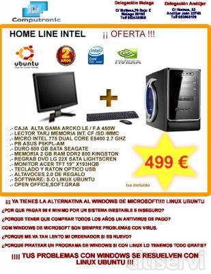 PC HOME LINE CORE E5400 Linux Ubuntu + Monitor TFT 19 + Tecla y Raton Por 499 €
