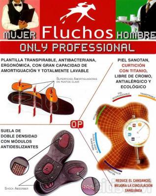 Fluchos ONLY PROFESSIONAL es un zapato ligero, estraordinariamente cómodo, un verdadero anti-fatigas, la solución profesional a las demandas de comodidad en el trabajo diario. Su secreto, una correcta distribución de las presiones, provocando un equili
