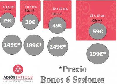 Disponemos de bonos de 6 sesiones a precios especiales el precio va en función del tamaño del tatuaje