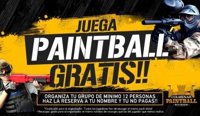 Ven a jugar al Paintball con nosotros y si eres el organizador de un grupo de 12 personas o más, Tú juegas Gratis!!  *Gratis sólo para el organizador **Todos los jugadores han de escoger el mismo pack inicial ***Recargas gratis para el organizador, el mis