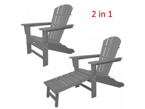 CASA BRUNO South Beach II Ultimate butaca Adirondack con reposapiés extensible, HDPE poly-madera, gris pizarra