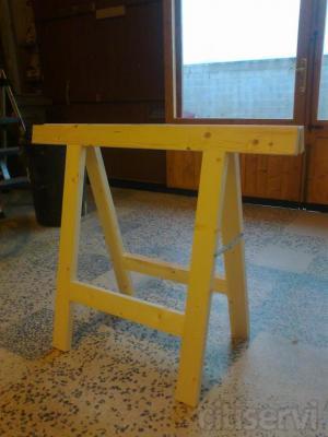 Caballete de madera reforzado, en stock, de madera de abeto de sección 7x3 herrajes zincados.