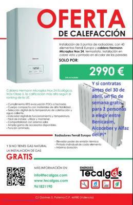Oferta calefacción a gas con 5 puntos, 40 elementos y caldera Hermann Micraplus Nox 24, y si no tienes Gas natural, te hacemos la instalación gratis