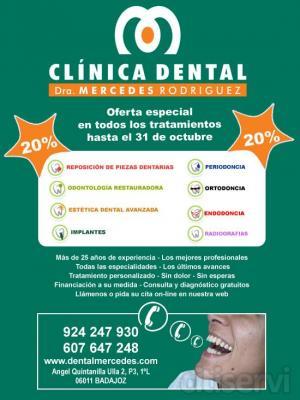 En la Clínica Dental Dra. Mercedes Rodriguez dispondrás de un 20% en todos los tratamientos durante el mes de octubre. ¡Ven y aprovecha esta oferta!