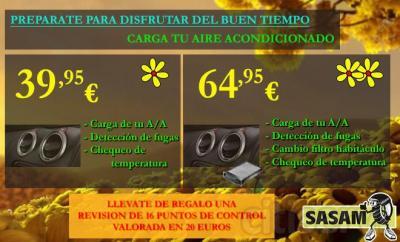 Campaña carga tu aire acondicionado en SASAM por 39,95 euros, junto con comprobación de temperatura y fugas.