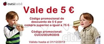 Te regalamos un vale de 5 € para compra igual o superior a 75 € en tienda online de moda infantil cucubebe