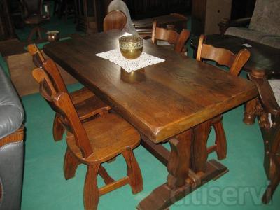 Messas de madera maciza para bodegas. Gran variedad de tamaños, desde 1,5m hasta 3m. Ofertas de Mesa con 4 sillas.  Solicite su presupuesto en nuestra pagina web www.muebleseljuncal.es