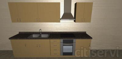 Subministro , montaje de mobiliario de cocina, segun detalle, formado por muebles altos, bajos.