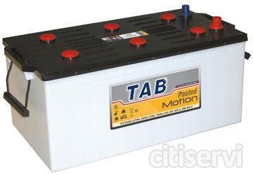 Batería monoblock especial para instalaciones de energía solar fotovoltaica, marca TAB, modelo 12 V 250 Ah C100. Otras capacidades: 190 Ah en C5 y 225 Ah en C20. Dimensiones en mm (L x An x Al): 518 x 273 x 213/237. Peso 62 kg. Vida útil: 300 ciclos de