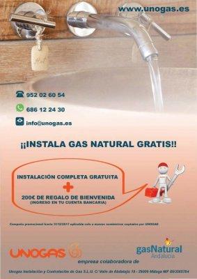 Ahora la instalación completa para gas natural es gratis y además te llevas 200€ de regalo de bienvenida directamente a tu cuenta corriente. Si tienes calentador de butano te lo adaptamos a gas natural gratis y si tienes termo eléctrico, te ponemos un cal