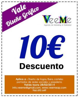 Con este vale tendras 10€ de descuento en servicios de Diseño grafico.