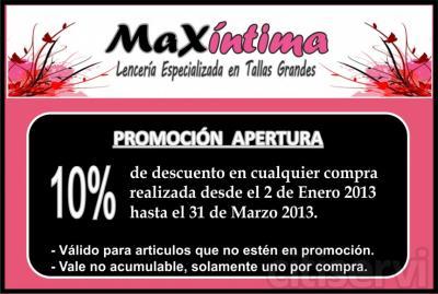 Por apertura de la tienda, 10% de descuento en todas las compras realizadas hasta el 31 de Marzo de 2013.