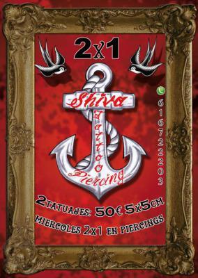 2 tatuajes por 50€ (5x5cm máx.) Miércoles 2x1 en piercing