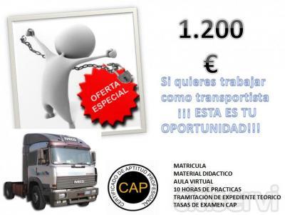 SI QUIERES TRABAJAR COMO TRANSPORTISTA  ¡¡¡ ESTA ES TU OPORTUNIDAD !!! INCLUYE: -MATRICULA  -AULA VIRTUAL 24 H -MATERIAL DIDACTICO -10 HORAS DE PRACTICAS CON EL CAMION -TRAMITACION DE EXPEDIENE TEORICO -TASAS PARA EL EXAMEN DEL CAP