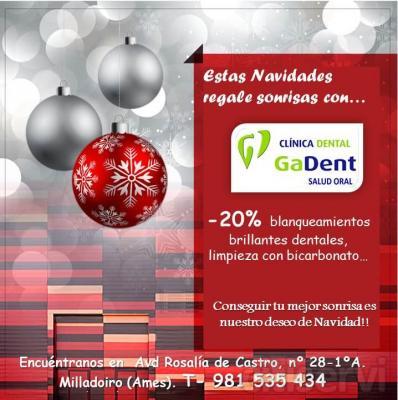 Estas navidades Clínica dental Gadent regala sonrisas:  20% DE DESCUENTO EN: -blanqueamientos dentales, brillantes dentales, limpiezas con bicarbonato... !!!luce tu mejor sonrisa!!!