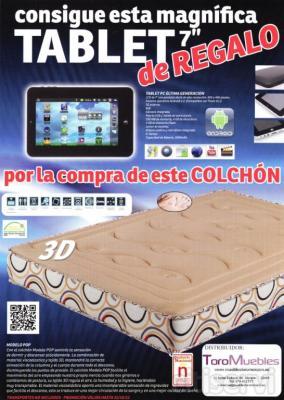 Consigue esta magnífica tablet de 7 pulgadas, de regalo, al comprar el colchón Pop Visco.  La sensación de ingravidez de la viscoelástica y el frescor del tejido 3D, se combinan en este colchón, para un descanso reparador y una mejor cali