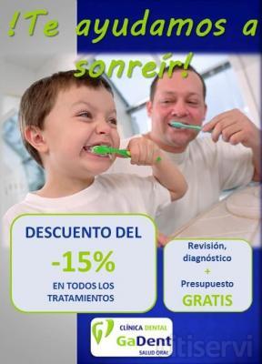 Promoción: - 15% de descuento en todos los tratamientos dentales: Estética dental-Blanqueamientos-Endodoncia-Ortodoncia-Odontopediatría-Implantes-Cirugía-Periodoncia-Prótesis-Odontología General