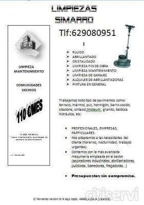 Mantenimiento de limpieza de comunidades en Valencia y alrededores 110€/mes 3 veces/semana.....